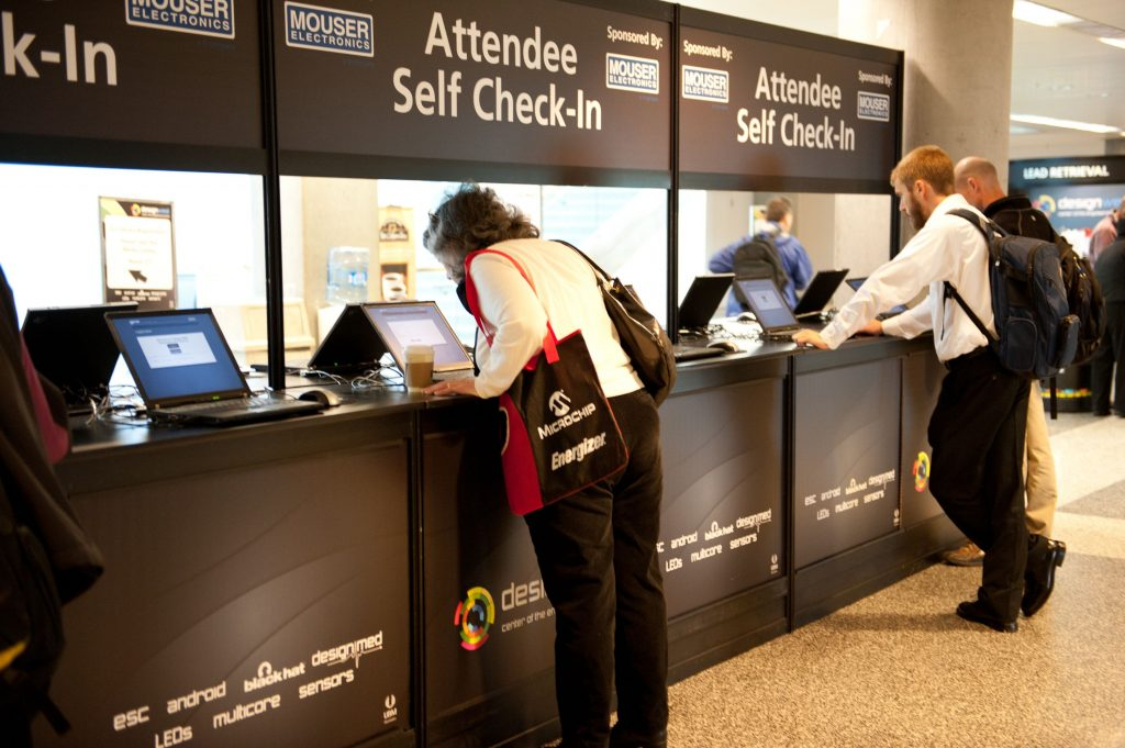 Electronic check in for attendees at an event